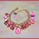 Chunky Simulated Pink Topaz Gemstones Bangle Charm Bracelet New