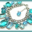 Charm Bracelet Brilliant Faux Gemstones Aqua Blue in Silver tone Settings New