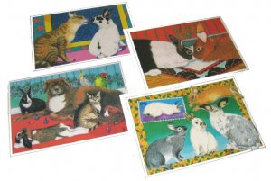 Christmas Cards Set of 4  Bunnies & Friends, 4 Designs New
