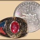 Ladies Petite Truck Driver Trucker Ring YGP Dark Red CZ, Size 9 New