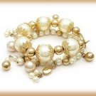 Diva White Faux Pearls Bangle Drops Bracelet Gold Tone New