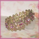 Love Hearts Bracelet Rose Pink & AB Crystals Vintage-look Gold Metal Plate Setting New