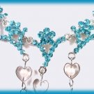 Love Hearts Necklace & Earring Set Aqua Crystals & Beads New