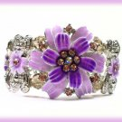 Bangle Cuff Bracelet Floral Theme with Purple Crystals