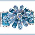 Blue Flower Bangle Bracelet Blue & AB Crystals New