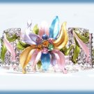Floral Cuff Bracelet Colorful Crystals, Enameled Flower New