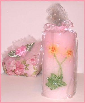 Petite Pink Pillar Candle Floral with Organza Ribbons New