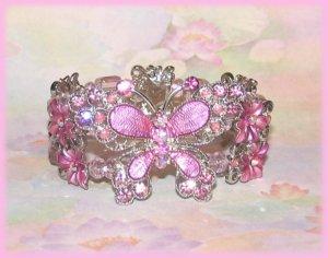 Bangle Bracelet Fancy Butterfly Lavender Pink Crystal New