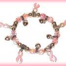 Womens Cancer Awareness Pink Ribbon & Hearts Charm Bracelet