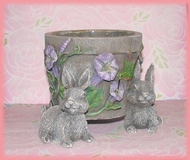 Bunny Rabbit Stoneware Flower Pot Planter Jar Flowers Hummingbirds New