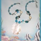 White Abalone Shell Pendant Necklace Set Aqua Glass & Lucite Beads New
