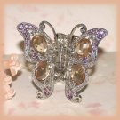 Butterfly Hair Clamp Pink-Amber Crystals Filigree Silvertone New
