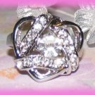 Heart Ribbons Dinner Fashion Ring Crystals Size 8 Silver Tone New