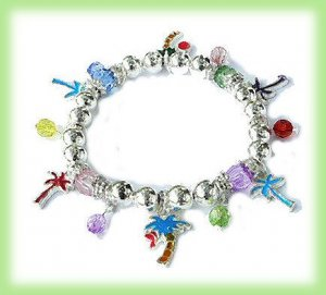 TROPICAL CHARM BRACELET PALM TREES,  BEADS New Colorful
