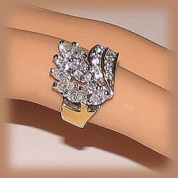 Clear CZ Crystals Dinner Ring Size 6.5 18k Gold Plt. New