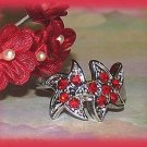 Red Stars Dinner Fashion Ring Crystals Size 9 Silver Tone New