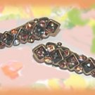 Kids Child 2 Mini Hair Clips Amber Color & AB Crystals Dark Gold Tone Metal New