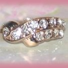 Glitter Fun Ring Crystals sweep across the front. Gold tone, Size 8 New
