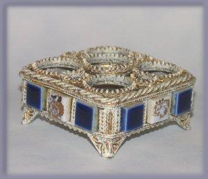 Baroque Blue White Mosaic Lipstick Holder Vanity Decor Elegant Metal NWOT