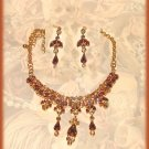 Exquisite Petite Amber Colored Crystals Necklace Earring Set Gold tone New