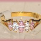 Sweetheart Pink & Clear Crystals CZ Marquise cut Ring, YGP Prong-set Size 6 New