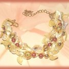 Pink,Cream,Gold Color Beads & Faux Pearls Bangle Bracelet, Satin Ribbon New