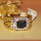 ICED Bling Blue CZ Nugget Ring YGP Size 10 New