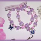 Kid Child Set of  2 Lavender Pink Friendship Bracelets w/ Pink Leather Ribbon New