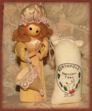 4 Pc. Set Winter Ornaments, Snowman,Lady,Feed Bag New