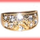 Dinner Fashion Ring Crystal Nugget CZs Size 9 Gold Plate New
