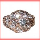 Dinner Fashion Ring Crystal Flower CZs Size 8 Gold Plate New