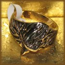 Mens Ring American Eagle Head Red Crystal Eyes Yellow Gold Plt. New