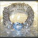 Stretch Ring Blue & Lavender Swarovski Crystals Dk. Silver tone New