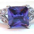 Womens Sim. Amethyst Cubic Zirconium Engagement Ring Size 6