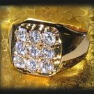 Men's Hot Iced Sparkling Clear CZs Ring Yellow Gold New Size 13