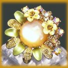Yellow Faux Moonstone Fantasy Party Cocktail Ring Adjust. New