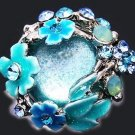 Aqua Fantasy Party Cocktail Ring Floral Resin Adjust. BOXED New