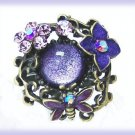 Lilac Purple Fantasy Party Cocktail Ring Floral Resin Adjust. New