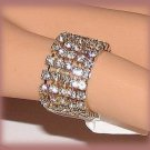 Eternity Ring CZ Crystals Stacked Stretch Size 7-8 Gold Plated