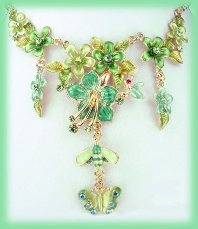 Emerald Green Floral Necklace Drop Earrings Set Honeybee Butterfly New