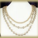 3 Strand Champagne Faux Pearls Necklace, Satin Ribbon New