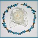 Vintage Single Strand Turquoise & Hematite Stones Necklace Used