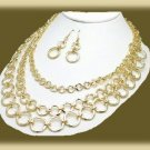 Stunning Hammered Circle Necklace Earring Set 3 Strands New