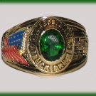 Ladies Truck Driver Trucker petite Ring Dark Emerald Green CZ, Size 9 YGP New