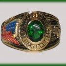 Ladies Truck Driver Trucker petite Ring YGP Dark Emerald Green CZ, Size 8 New