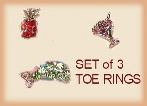 3 Tropical Toe Rings for Your feet! Cocktail Drink, Dolphin, Pineapple New
