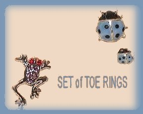 Cute Critter Toe Rings for sexy feet! 2 Tiny Blue Ladybugs & One Red Leaping Froggie New