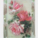 Picture Plaque Shabby Cottage Roses & Glitter New