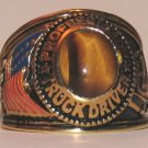 Trucker Truck Driver RING Tiger's Eye stone Size 14 Trucking Yellow GP New