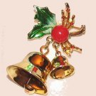 Vintage Christmas Holiday Pin Brooch & Earrings Set Holly & Bells
